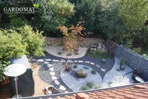 Gartenstil moderner Kiesgarten mit Stahlkanten