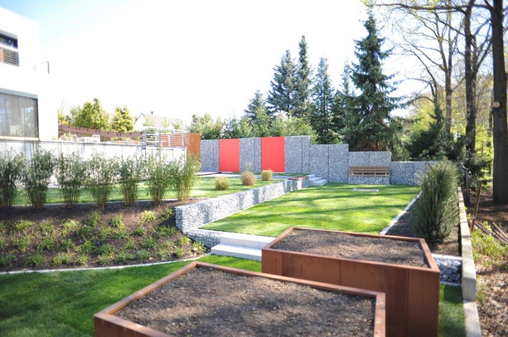 moderner Garten01001 Cortenstahlhochbeete Gabionen Bambus - Gardomat