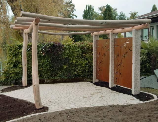 Mecondo cortenstahl in pergola gardomat for Gartengestaltung cortenstahl
