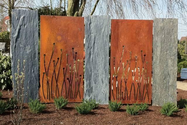 Cortenstahl natursteinstelen mecondo gardomat for Gartengestaltung cortenstahl
