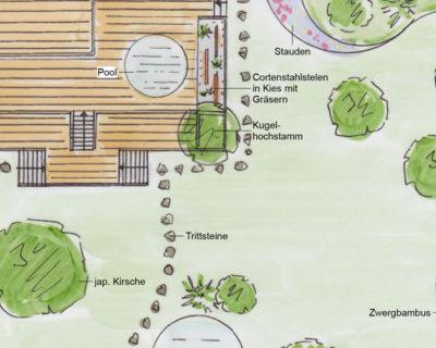 Ausschnitt aus dem Ideenplan für die Neugestaltung zu einem japanischen Garten.