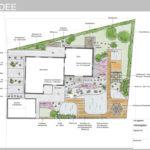 Ideenplan für mediterranen Garten mit Schwimmteich, Stauden & Kräuterbeet