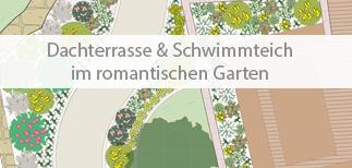Einstiegsbild Referenzgarten mit Dachterrasse und Schwimmteich