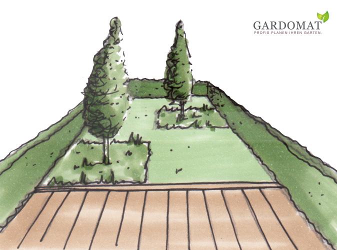 Verzichten Sie auf stark breit wachsende Pflanzen, setzen Sie lieber ein Säulengehölz im schmalen Grundstück in Szene.